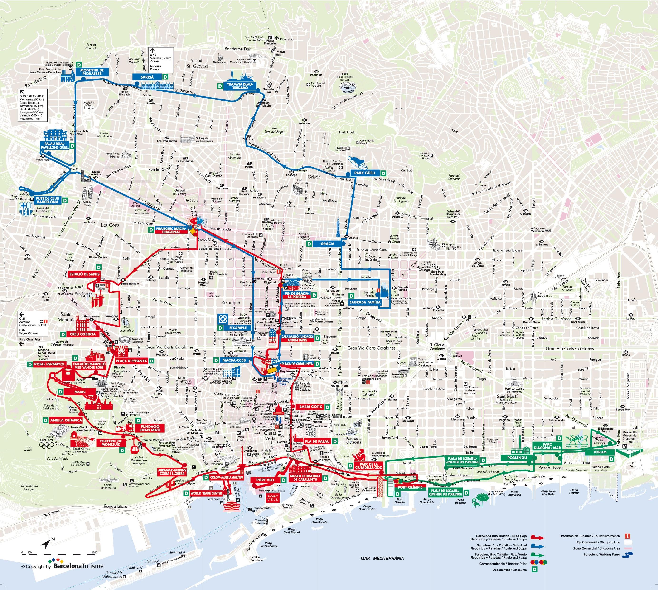 Barcelona Sehenswürdigkeiten Karte.Touristischen Karte Von Barcelona Sehenswürdigkeiten Und Touren