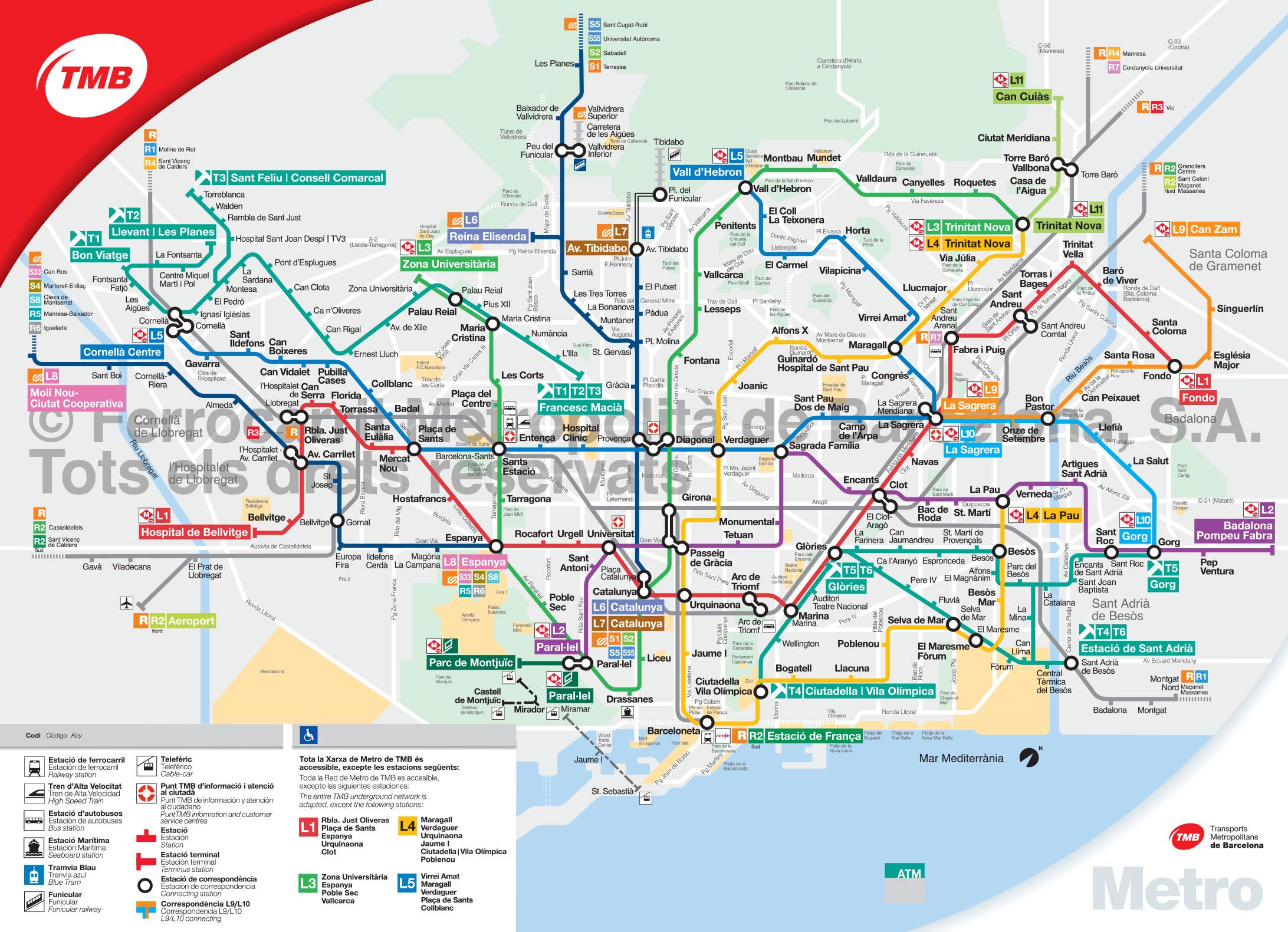 Barcelona Sehenswürdigkeiten Karte.U Bahn Metro Netzplan Und Karte Von Barcelona Stationen Und Linien